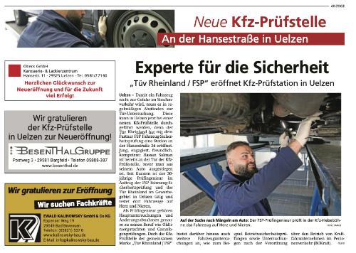 Zeitungsanzeige 24.10.2020 Uelzen Tüv